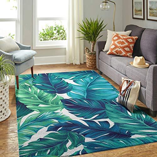 Veryday Alfombra de lujo con hojas de palmera, para salón, dormitorio, habitación infantil, color blanco, 91 x 152 cm