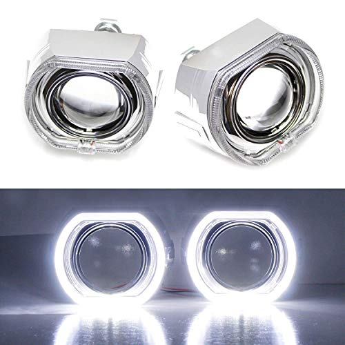 iJDMTOY (2) 3.0-Inch H1 Bi-Xenon Headlamp Projector Lens w/DTM Style Square LED Halo Rings Daytime Running Light Shroud Compatible With Headlight Retrofit, Custom Headlamps Conversion