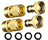 MAXFLO Garden Hose Quick Connect Garden Hose Fittings [2 Pack] Solid Brass Water Hose Quick Connect Fittings Quick Connector   Water Hose Connectors 3/4 inch GHT   Hose Couplers Quick Disconnect