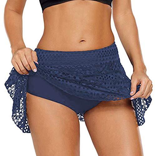 Women Swim Skirt Tankini Swimdress Swimsuits Dress Swimwear Board Shorts High Waisted Flounce Swimming Bottom (Blue, XL)