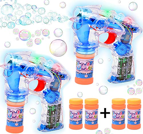 Haktoys 2-Pack Transparent Bubble Shooter Gun | Ready to Play Light Up Blower with LED Flashing Lights, Extra Bottle, Bubble Blaster Toy for Toddlers, Kids, Parties (Sound-Free, Batteries Included)