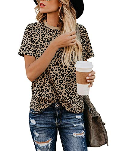 Yidarton Women's T Shirt Leopard Print Tops Short Sleeve Casual Cotton Round Neck Cute Blouse (Leopard01, Small)