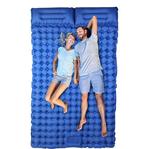 Double Ultralight Sleeping Pad with Pillow Foot Press Inflatable Camping Mattress Sleeping Pads for Hiking Backpacking Camping Travel Navy Blue