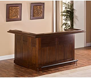 """Hillsdale Furniture 64028XBCHE Classic 26.5"""" Large Bar with Side Bar Molding Detail and 12 Bottle Wine Rack in Brown"""