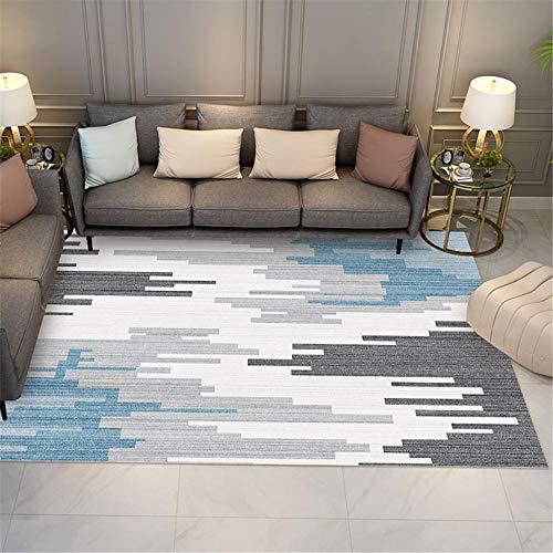 Alfombra Bebe Gateo Alfombra Rectangular para Sala de Estar Gris Blanco y Azul Resistente al Desgaste y Duradero. alfombras de Salon alfombras Antideslizantes 160X200CM 5ft 3' X6ft 6.7'