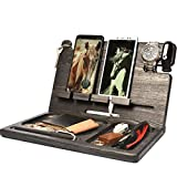 BarvA Wood Docking Station Tray Two Cell Phone Smartwatch Holder Men Charging Accessory Nightstand Father Mobile Gadget Organizer Tablet Storage Dresser Adult Anniversary Birthday Graduation Gift