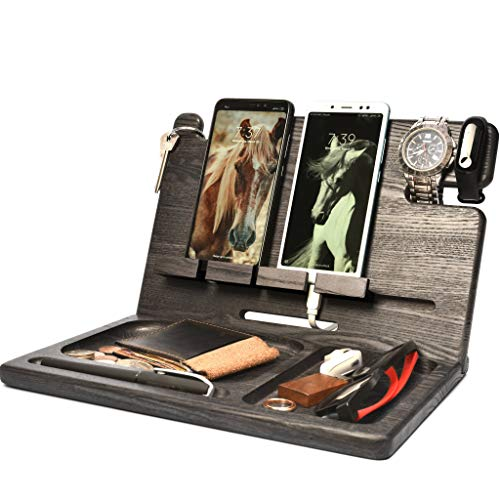 Wood Docking Station Two Cell Phone Stand Smart-Watch Wallet...