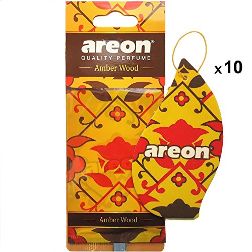 Areon Orient Ambientador Coche Madera Ambar Casa Colgante Colgar Olor Oriental Perfume Original Cartón Retrovisor Oficina 2D ( Amber Wood Pack de 10 )