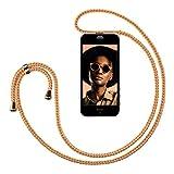 ZhinkArts Handykette kompatibel mit Apple iPhone 5 / 5S / SE (2016) - Smartphone Necklace Hülle mit Band - Handyhülle Case mit Kette zum umhängen in Sunset