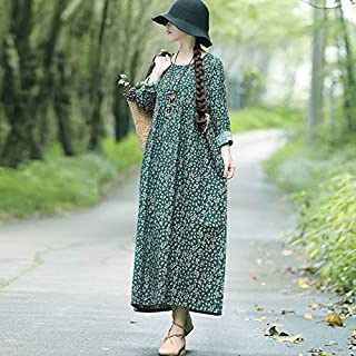 Extaum Casual Women Cotton Linen Dress Vintage Floral Print O Neck Long Sleeve Loose Ethnic Long Maxi Dress