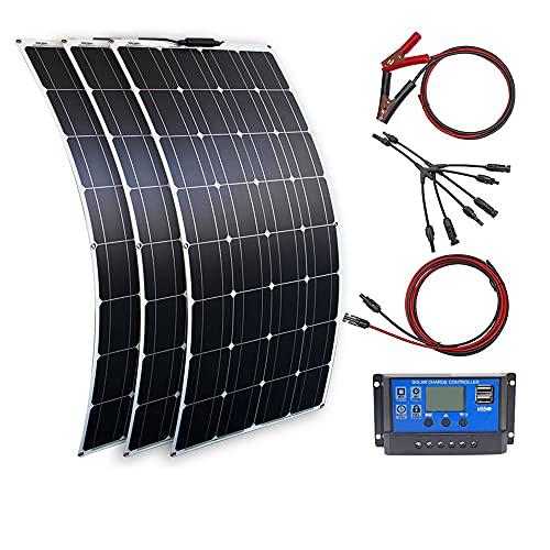 300 Vatios 12v Kit Solar 3pcs 100W Módulo Solar Monocristalino Controlador 30A+Cable de 3m+Cable de clips 1m Ultra Ligero Panel Solar para Autocaravana, Techo, Caravana, Barco(300 Vatios)