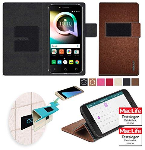 reboon Hülle für Alcatel Shine Lite Tasche Cover Hülle Bumper | Braun Leder | Testsieger