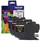 Brother Printer Genuine LC30133PKS 3-Pack High Yield Color Ink Cartridges, Page Yield Up to 400 Pages/Cartridge, Includes Cyan, Magenta and Yellow, LC3013