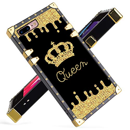 Fiyart iPhone 7 Plus, iPhone 8 Plus Case Luxury Queen Golden Crown Gold Glitter Square Soft TPU Wrapped Edges and Hard PC Back Stylish Classic Retro Case 5.5 inch