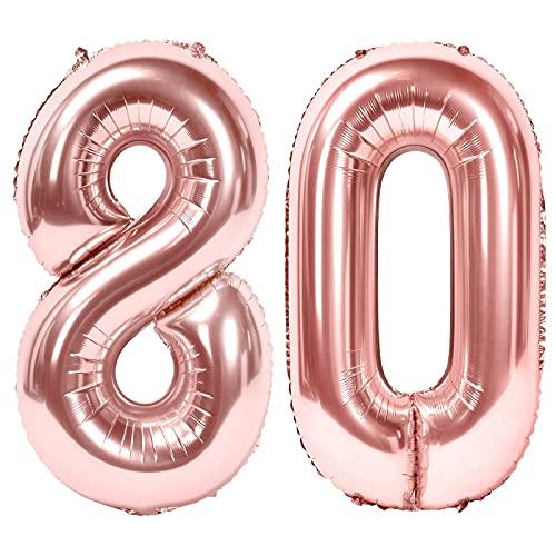 Siumir Globos de Numero Oro Rosa Número 80 Grande Globos de Cumpleaños Papel de Aluminio Globos Decoración de Fiestas de Cumpleaños