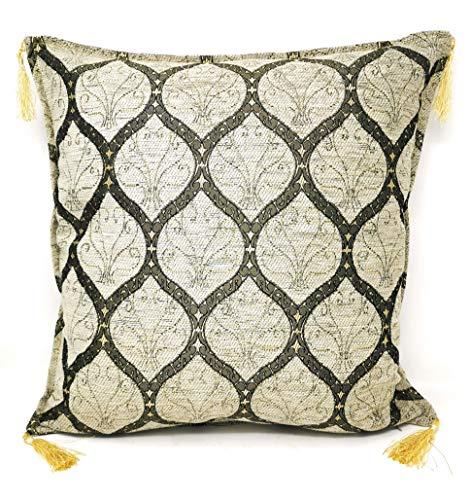 Aga's Own Funda de cojín cuadrada de cord, suave, maciza, decorativa, oriental, para sofá, dormitorio, coche, 45 x 45 cm, color blanco
