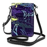 Bolso ligero del teléfono celular de la PU, bolso pequeño púrpura oscuro del bolso del hombro de la cartera del bolso del bolso del bolso de Pounch para las mujeres, color Negro, talla Talla única
