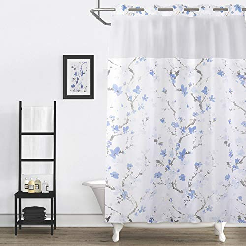 Lagute SnapHook Nature Hook Free Shower Curtain with Snap-in Liner & See Through Top Window | Machine Washable & Water Repellent | Blue Blossom