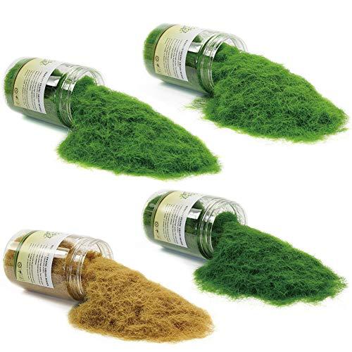 4 Flaschen*300ml 8mm Streugras Wiese Static Grass Powder Modellbahn Layout Modellbau Grass streumaterial Gebäude Zubehör