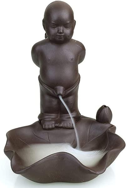 FENBEN Backflow Incense Burner Holder Ceramic Cone Incense Stick Holder Home Office Yoga Decor Aromatherapy Ornament 10 Cone Incense Free Pee Boy