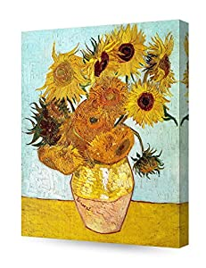 DECORARTS - Twelve Sunflowers, Vincent Van Gogh Art Reproduction. Giclee Canvas Prints Wall Art for Home Decor 20x16 by Decor Arts International Corp