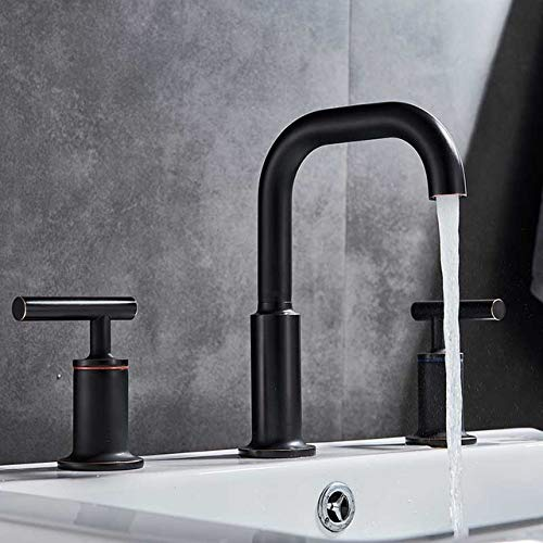 5151BuyWorld waterkraan, verchroomd, dubbele greep, badkraan, keukenarmatuur, grote ladder, voor meubels, wastafels, armatuur, 3 gaten, warm, koud, badkuip, waterkraan, gratis verzending Black Bronze