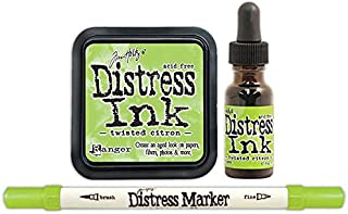 Tim Holtz Ranger Distress 2015 Color of the Month Ink Pad, Marker, and Reinker Bundle - 3 Items (May - Twisted Citron)