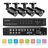 FLOUREON Kits de vigilancia DVR, Sistema de cámara de seguridad sin HDD,8CH de DVR +4PCS 1080P Cámaras de videovigilancia CCTV,alarma por correo electrónico