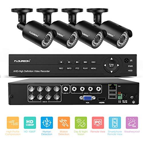 FLOUREON Kits de vigilancia DVR, Sistema de cámara de seguridad sin HDD,8CH de DVR +4PCS 1080P Cámaras de videovigilancia CCTV,alarma...