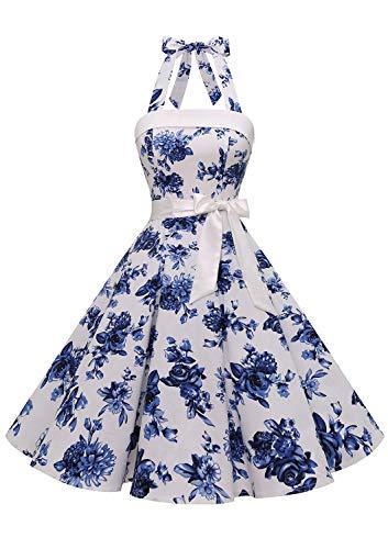 Timormode – Vestido de cóctel sexy, retro, vintage, para mujer, diseño de los años 40, 50 y 60, estilo Rockabilly, con escote C- Blanc Fleur Bleue XXXL