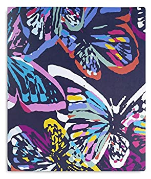 Vera Bradley 3 Ring Binder with Flexible Plastic Cover Includes Binder Dividers and Sticker Labels Butterfly Flutter
