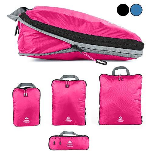 Packtaschen Set mit Kompression | ultraleichte Packwürfel für Rucksack und Koffer | wasserabweisende Compression Packing Cubes als Gepäck...