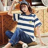 Conjunto de Pijama de 2 Piezas para Mujer, Conjunto de Pijama de Verano de Manga Corta para Mujer, Conjunto de Pijama de pantalón Largo, Conjunto de Ropa de Dormir de algodón para Ocio-L_47.5-55KG
