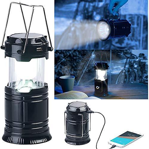 Semptec Urban Survival Technology Campinglampe: 3in1-Solar-LED-Camping-Laterne, Handlampe & USB-Notlader, 80 Lumen (Campinglampe Solar USB)
