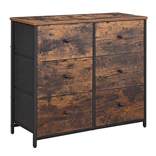 SONGMICS Rustic Drawer Dresser, Wide Storage Dresser with 6 Fabric Drawers, Industrial Closet Storage Drawers with Metal Frame, Wooden Top and Front, Rustic Brown and Black ULGS23H