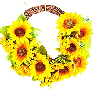 Romase Flower Wreath for Front Door, 13.7″ Artificial Yellow Sunflower Wreath Spring Summer Wreath Wall Decor for Front Door Wedding Home Decoration (Sunflower Wreath)