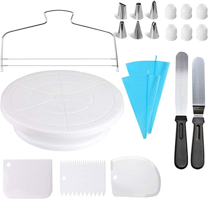 Cake Decorating Kit Cake Rotating Turntable Icing Spatulas Cake Scrappers Cake Cutter Piping Nozzles Pastry Bag Piping Tip Couplers