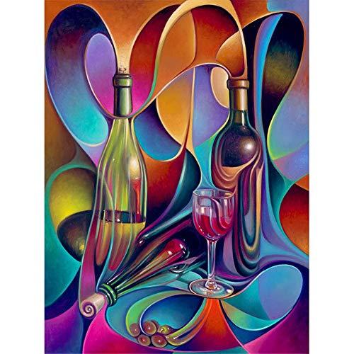 DIY Pintura de Diamante 5D Bordado Kits Botella de vino de color 36x60in 5D Diamond Painting Rhinestone Bordado de Punto de Cruz Lienzo Artes Manualidades Decoración de Pared del Hogar