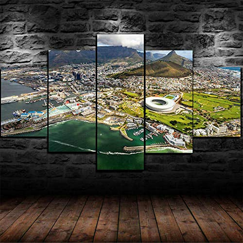 Cuadro Sobre Lienzo 5 Piezas Impresión En Lienzo Ancho: 150Cm, Altura: 100Cm Listo Para Colgar-Ciudad Del Cabo Cityscape En Un Marco