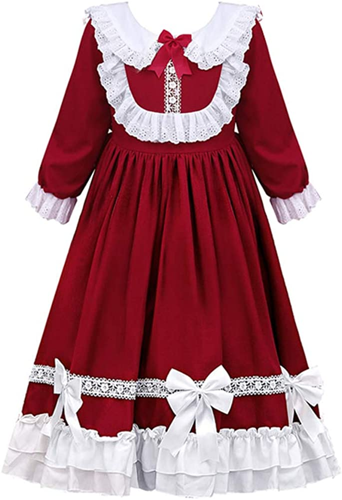 Himifashion Girl's Lolita Princess Dress Winter and Autumn Long Sleeve Wedding Party Dresses for Kids 4-15 Years