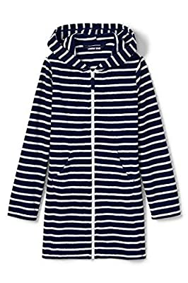 Lands' End Girls Stripe Kangaroo Pocket Swim Cover-Up Small Deep Sea Breton Stripe