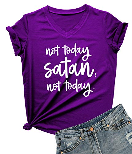 DANVOUY Women Not Today Satan V-Neck Graphic T-Shirt Casual Tops Tees Purple Large