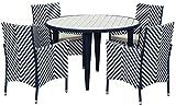 Safavieh EUP2503 Twin Sitzbank Für Den Garten, Rattan, Blau, 115.06 x 115 x 74 cm