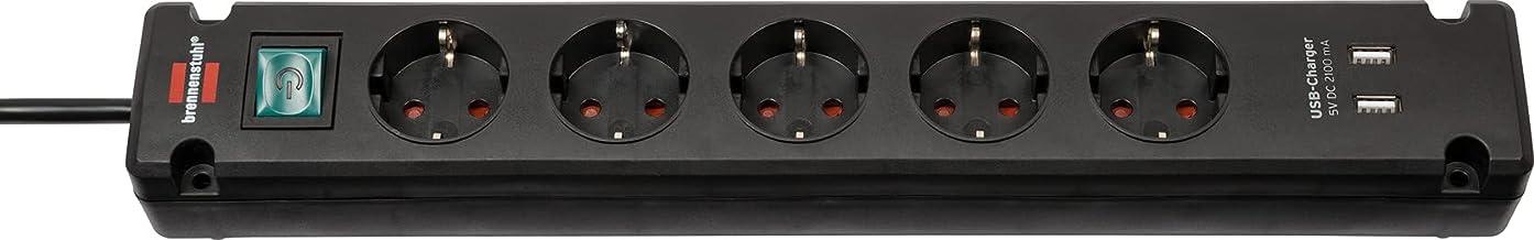 Brennenstuhl Bremounta Stekkerdoos 5-voudig met USB-laadfunctie (Stekkerblok met 90-graden aansluitingen, stekkerdoos met ...