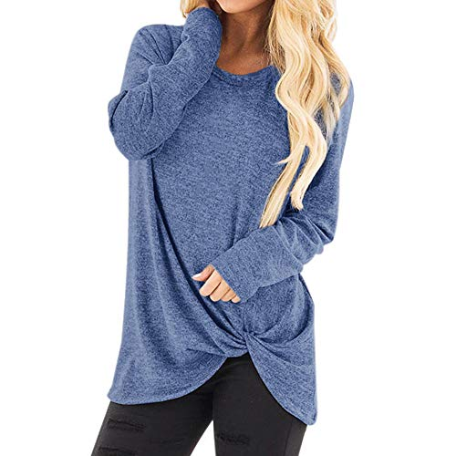 Aimik 2020 Women Casual Solid Crewneck Loose T-Shirt Long Sleeve Autumn Twisted Tops Blouse Tunic Sweatershirts