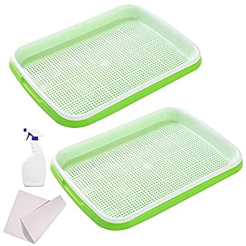 MAOPINER Seed Sprouter Tray with Drain Holes   BPA Free Nursery Tray Seed Germination Tray Healthy Wheatgrass Seeds Grower & Storage Trays for Garden Home Office with Germinating Paper  2