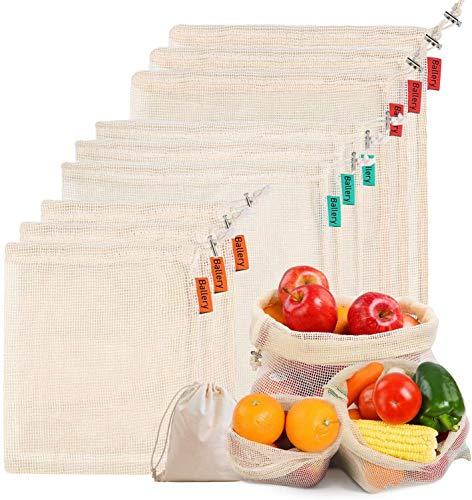 Ballery Sacs Réutilisables à Fruits et Légumes, Sac en Coton réutilisable, Sacs réutilisables en Maille, Résistant, Lavable, Double Piqué avec étiquette de Poids de Tare