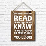 Dr. Seuss Quotes and Saying Rustic Wood Wall Art Decor- 8'x10' Wood Hanging Sign - Motivational Inspirational Classroom Office Child/Boy/Girl/Nursery Room Decor
