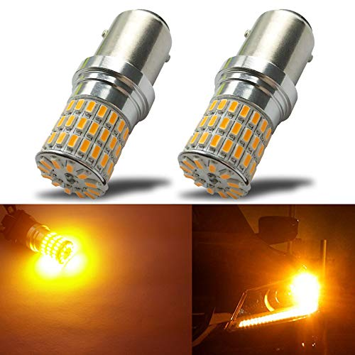 iBrightstar Newest 9-30V Extremely Bright 1157 2057 2357 7528 BAY15D LED Bulbs Replacement for Turn Signal Lights,Amber Yellow