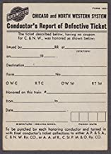 Chicago & Northwestern Conductor's Report of Defective railroad ticket 1950s